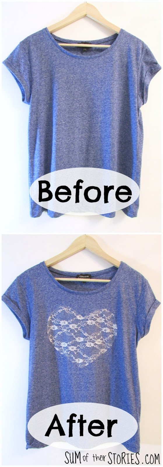 Lace Heart T shirt refashion
