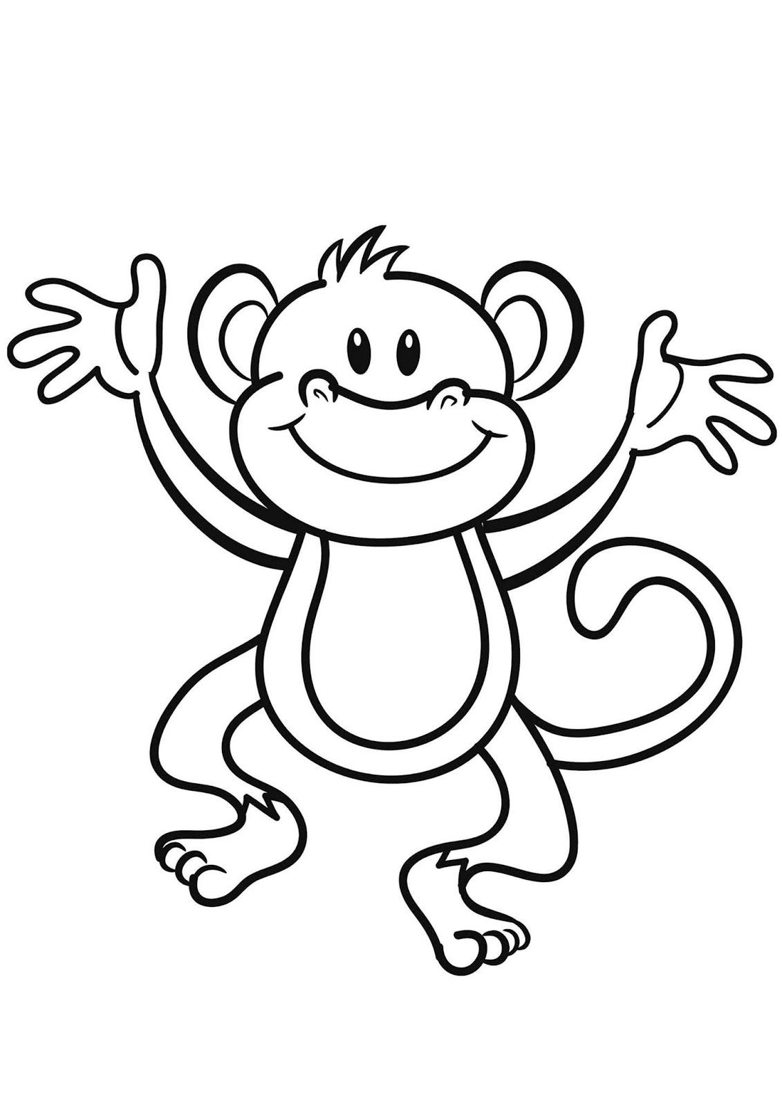 Tranh tô màu con khỉ giơ tay