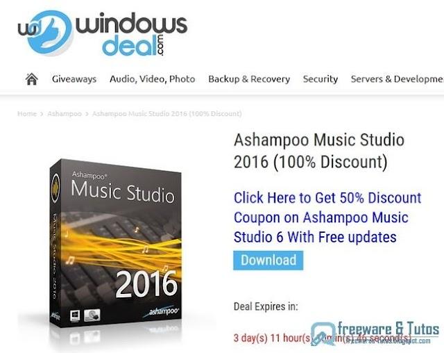 Offre promotionnelle : Ashampoo Music Studio 2016 à nouveau gratuit !