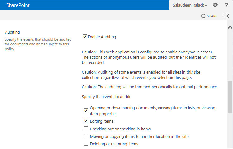 sharepoint 2013 audit document library
