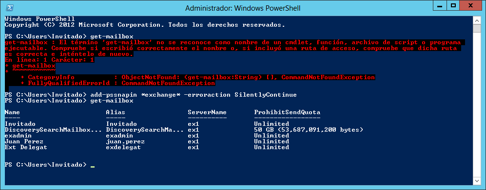 Exchange 2013: Cargar cmd-let de Exchange en una sesión de PowerShell