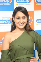 Pragya Jaiswal in a single Sleeves Off Shoulder Green Top Black Leggings promoting JJN Movie at Radio City 10.08.2017 126.JPG