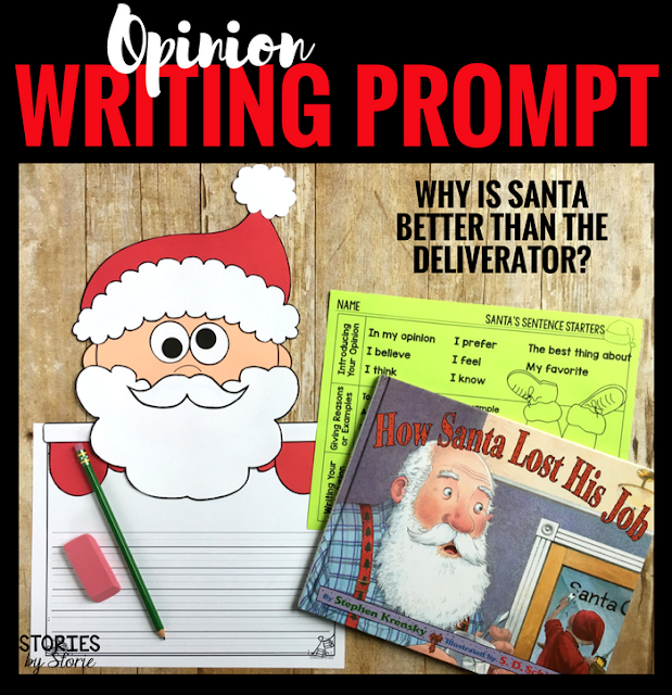 After reading How Santa Lost His Job, students can create this Santa craft. Then students will add an opinion writing piece explaining why Santa is better than The Deliverator.