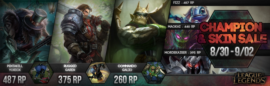 A New Champion And Skin Starts Tomorrow Between August 30th September 2nd You Ll Be Able To Pick Up Fizz For 487 Rp Maokai 440