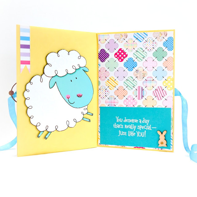 Happy Easter Greeting Card Mini Album Lamb Pages 5 and 6
