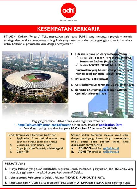 Lowongan Kerja BUMN PT Adhi Karya(Persero) Tbk Otkober 2016