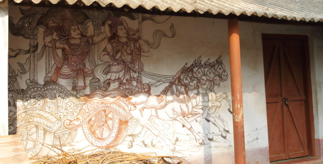 A moment from the Bhagvad Gita portrayed on the walls of a Raghurajpur home in Odisha