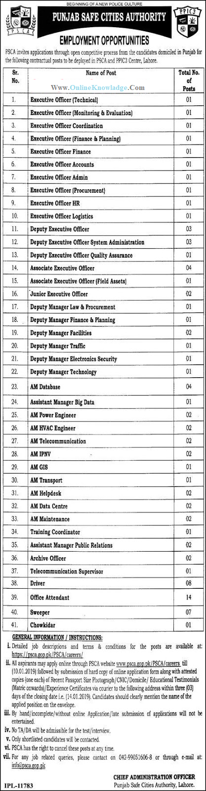 Punjab Safe City Authority (PSCA) New Jobs 2019 - Online Apply punjab safe city authority jobs 2019  safe city project lahore jobs 2019  punjab safe city authority online apply  safe city project jobs 2019  safe city lahore jobs 2018-19  www.psca.gov.pk jobs 2018  punjab safe city authority jobs 2019 nts  psca jobs 2019