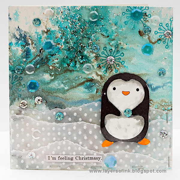Layers of ink - Winter Penguin by Anna-Karin Evaldsson