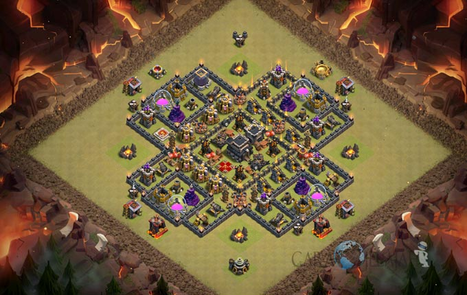 Base Trophy TH 9 COC Update Bomb Tower Terbaru 2017 Tipe 11
