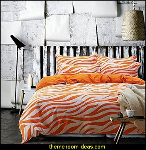 Zebra Print Orange Bedding Duvet Cover Set Kids Bedding Teen Bedding Dorm Bedding Gift Idea