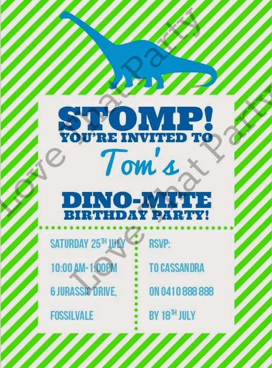 Awesomr printable Dinosaur Party Invitations that are personalised with all your kid's party details and emailed to you for printing. Love These. www.lovethatparty.com.au