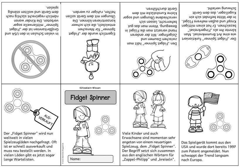 Ausmalbilder Fidget Spinner: Ideenreise: Neues Klitzekleinheftchen