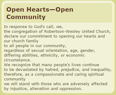 "Robinson-Wesley United Church ""Open hearts - open community"" statement from website www.rwuc.org"