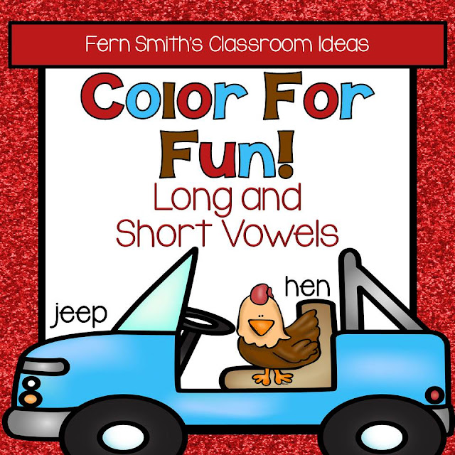 Fern Smith's Classroom Ideas - Color for Fun Long and Short Vowels. Click here to see the resource at TeacherspayTeachers.