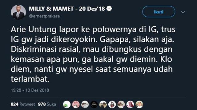 Soal Aksi 812, Ernest ke Arie Untung: Enggak Bakal Gue Diemin