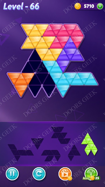 Block! Triangle Puzzle Intermediate Level 66 Solution, Cheats, Walkthrough for Android, iPhone, iPad and iPod