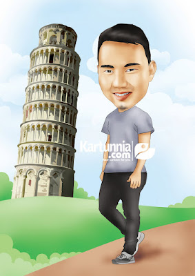 kartun background menara pisa