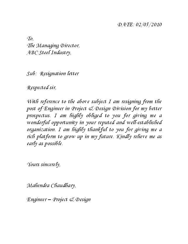 Resignation Letter Format Better Opportunity – Resignation Letter Engineer