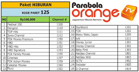 daftar channel orange tv Paket Hiburan c band