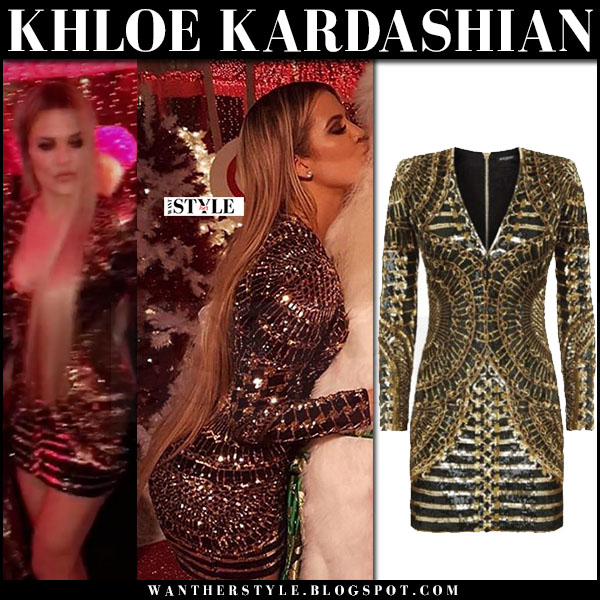 Khloe Kardashian in gold sequined mini dress balmain what she wore christmas party