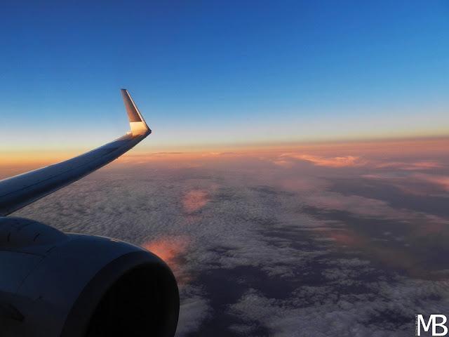 tramonto dall'aereo