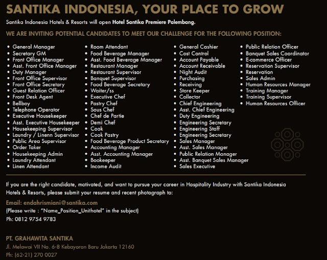 Lowongan Kerja Hotel Santika Premiere Palembang 2018