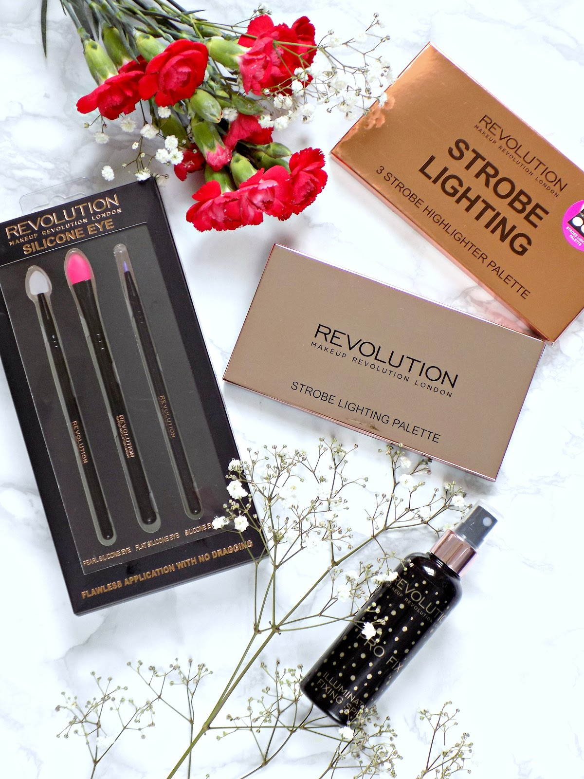 new products from Makeup Revolution, Makeup Revolution Strobe Lighting palette, Makeup Revolution Silicone Eye Set, Makeup Revolution Fixing Spray