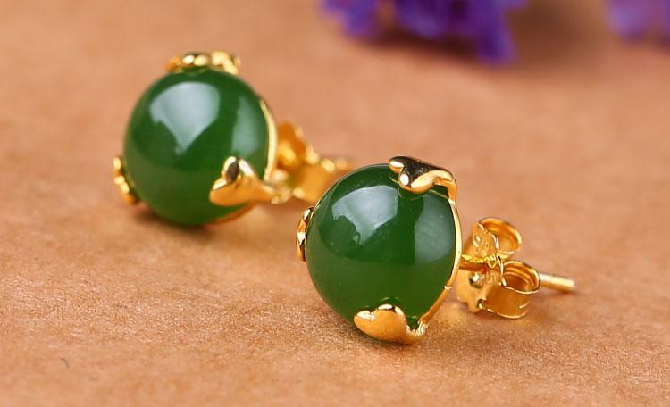 天然碧玉鑲金爪 925純銀耳環