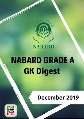 NABARD Grade A Monthly GK Digest: December 2019