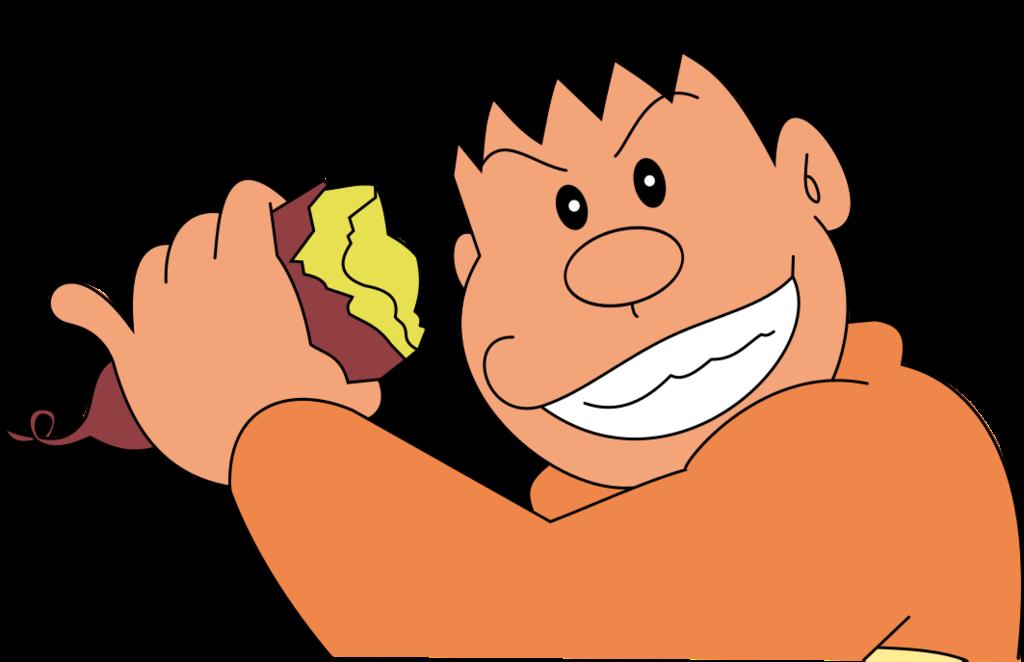Gyan eating potato