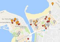 todos los pintxos situados en el mapa