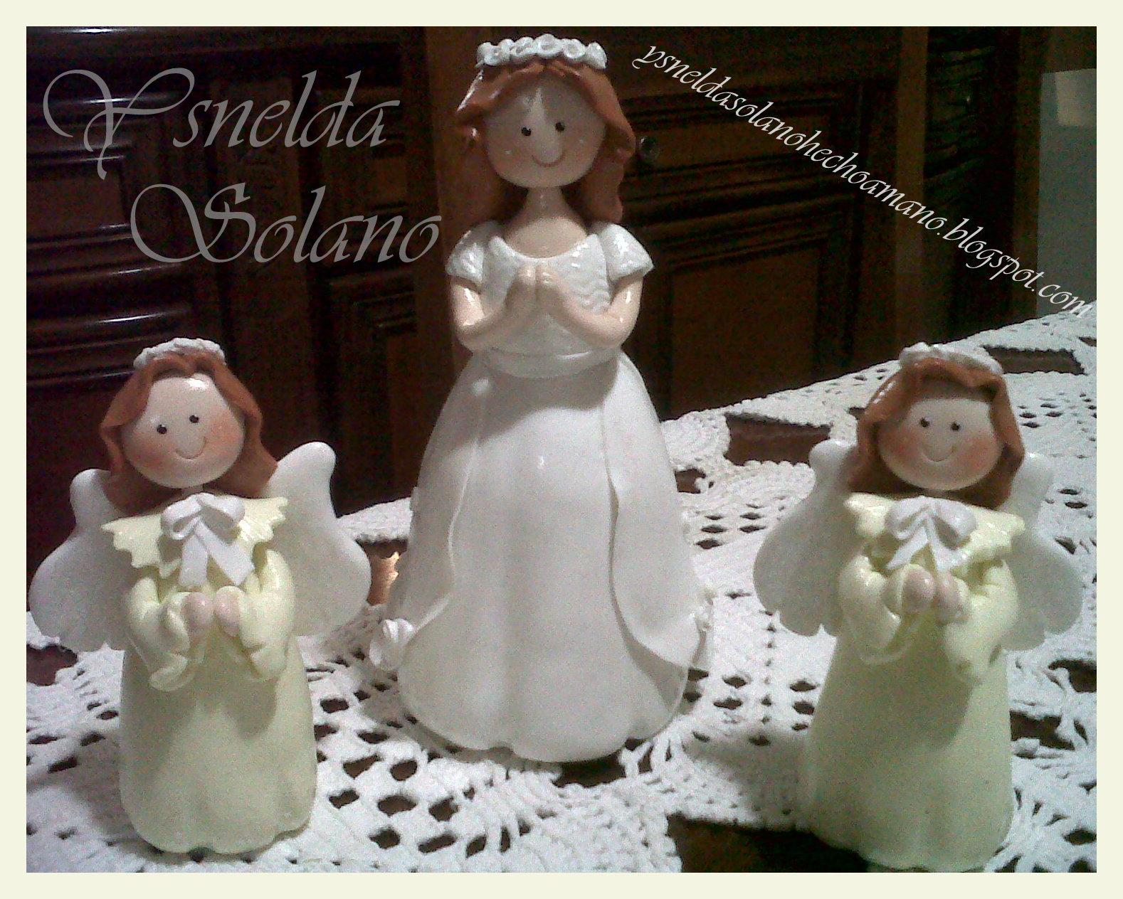 Niña Primera Comunión Y Angelitos En Porcelana Fría Masa