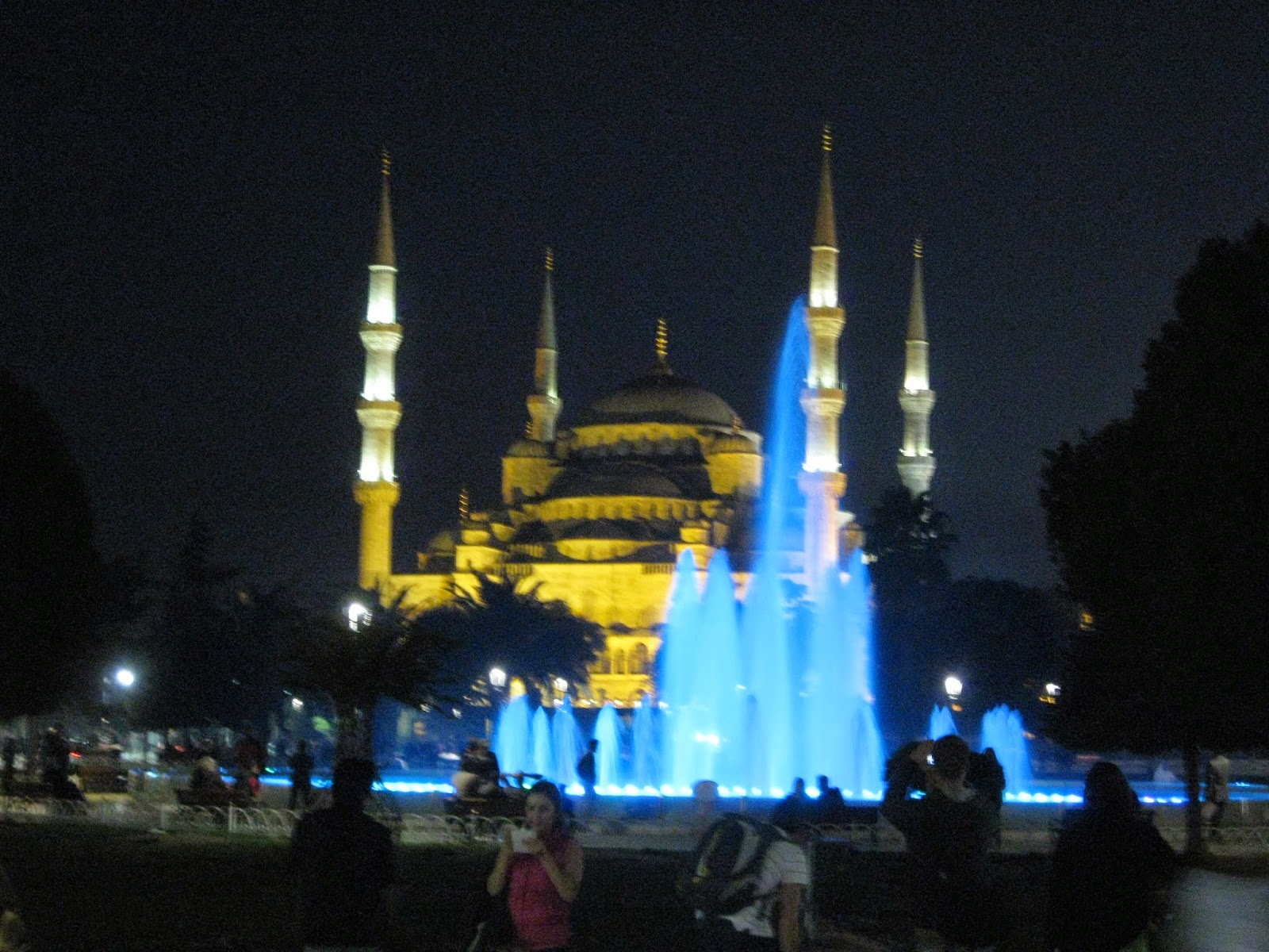 Istanbul - Color-lit fountain against The Blue Mosque