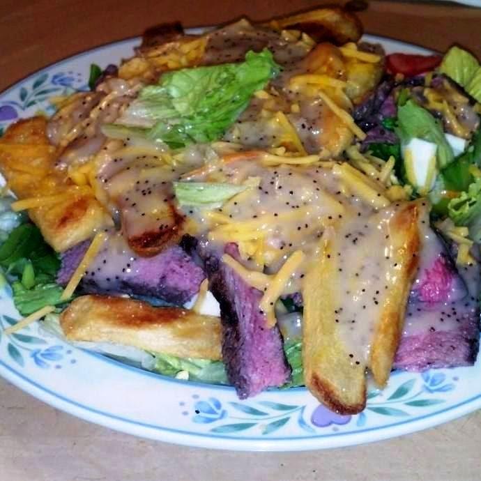 A delicious looking steak salad