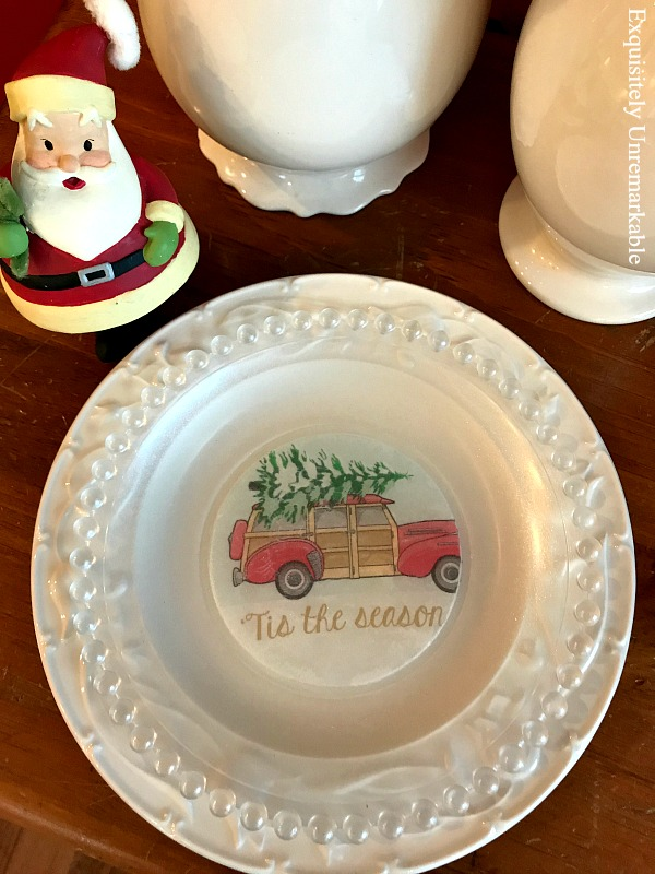 Red Station Wagon Christmas Plate.