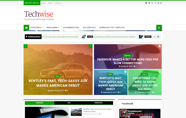 Techwise Responsive Magazine News Portal Blogger Template Theme