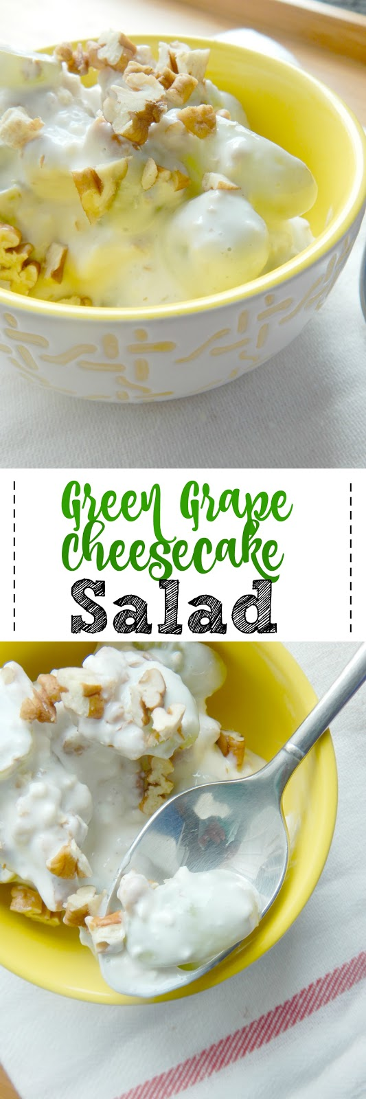 Green Grape Cheesecake Salad...a fruit salad that tastes like dessert!  Sweet grapes, creamy filling and crunchy pecans! (sweetandsavoryfood.com)
