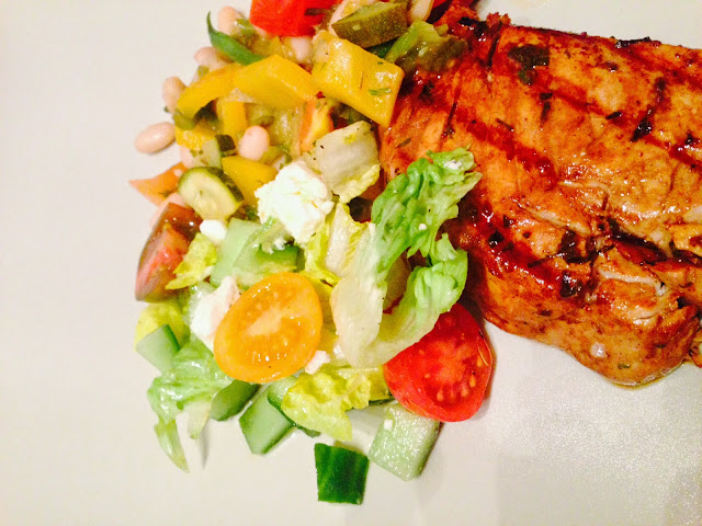 Orange and soy marinated seared tuna steaks