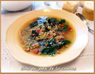 Sopa de carne picada