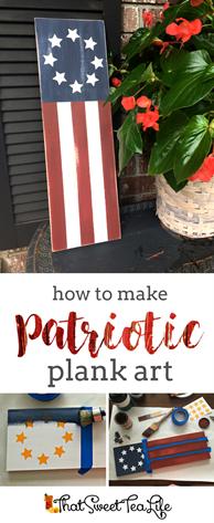 Patriotic Plank Art #flagart #flagsign #patrioticsign #diysign