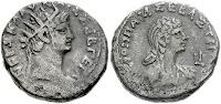Moneda con Nerón y Popea