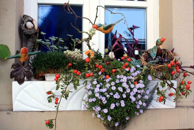 Weintrauben als Fensterdeko, gesehen in Iphofen © Copyright Monika Fuchs, TravelWorldOnline