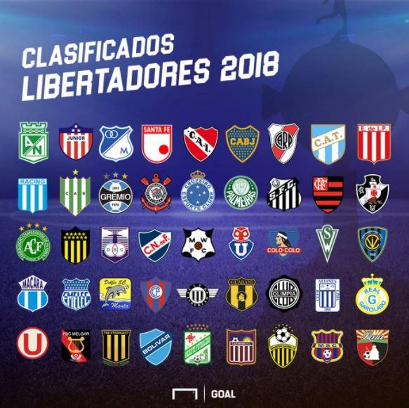 los equipos clasificados a la Copa Libertadores 2018