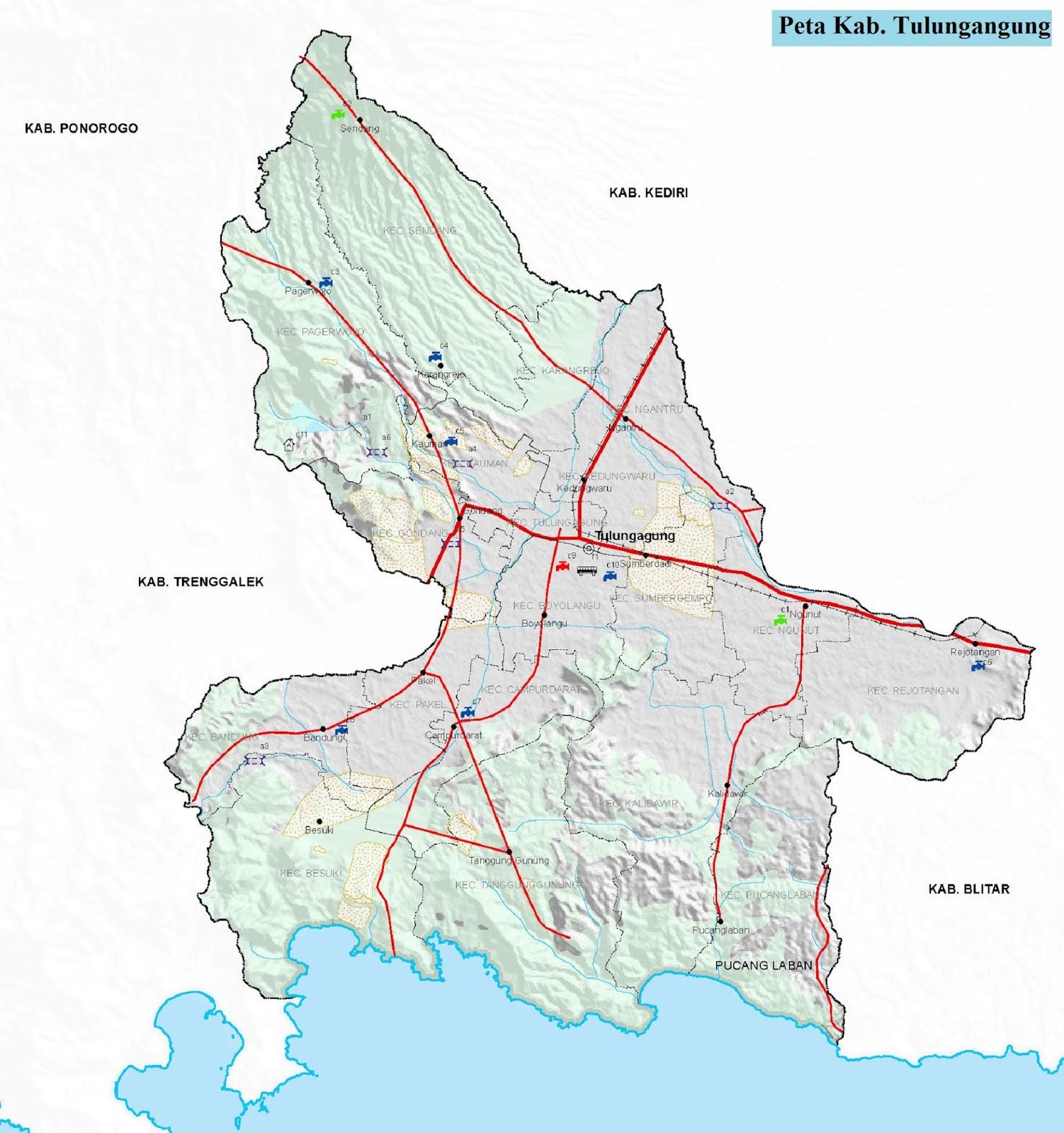Peta Kabupaten Tulungagung HD