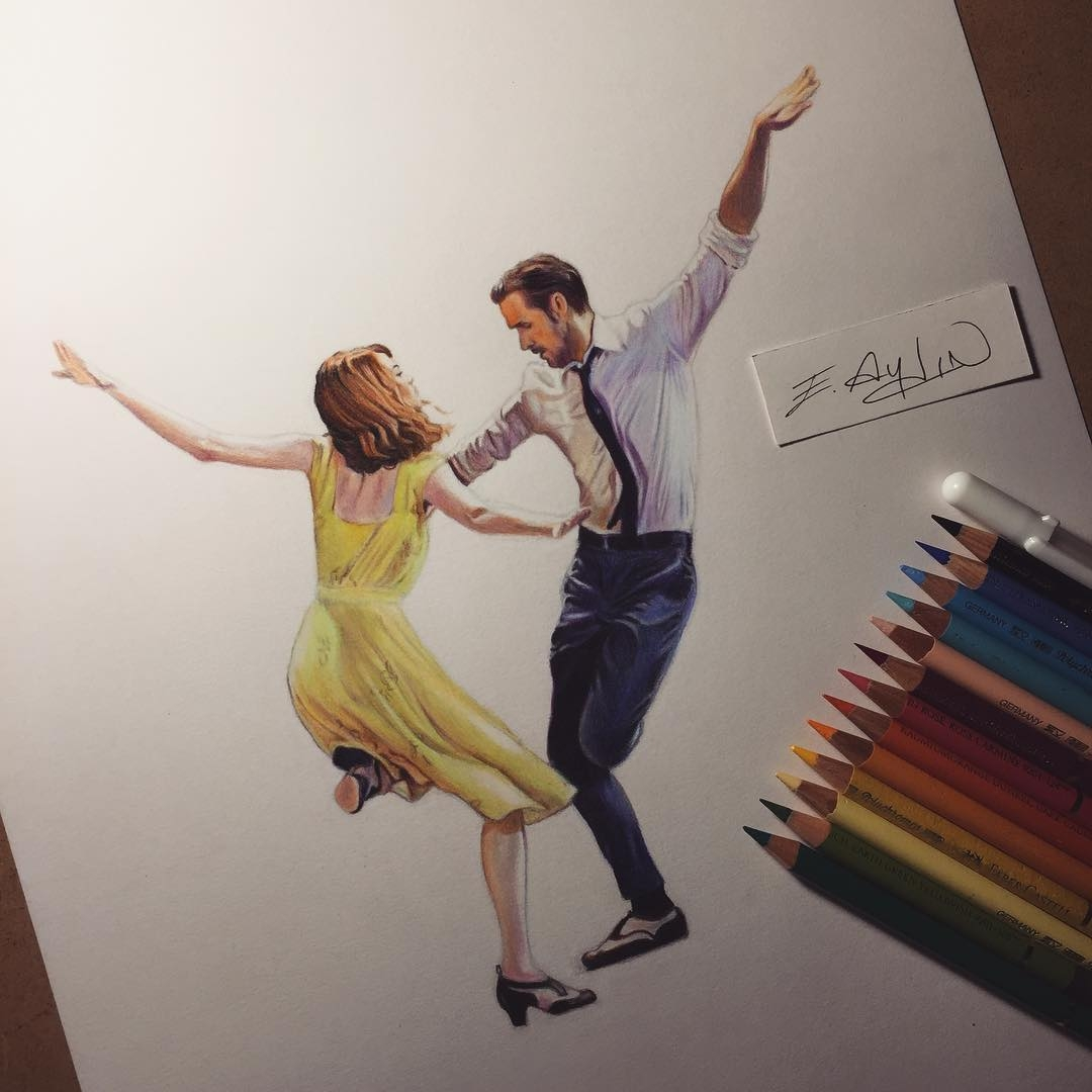 10-La-La-Land-Emma-Stone-Ryan-Gosling-Emre-Aydin-Celebrity-Pencil-Drawings-in-Movies-and-TV-www-designstack-co