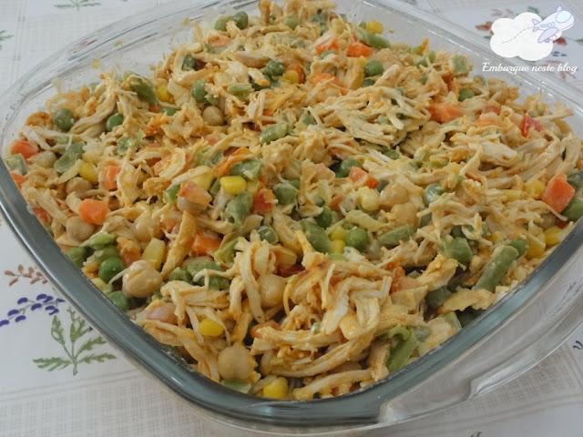 Salada de frango, Lanche para levar à praia, Cozinha do Viajante, Embarque neste blog