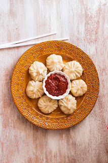 Steamed vegan dumplings or momo from India