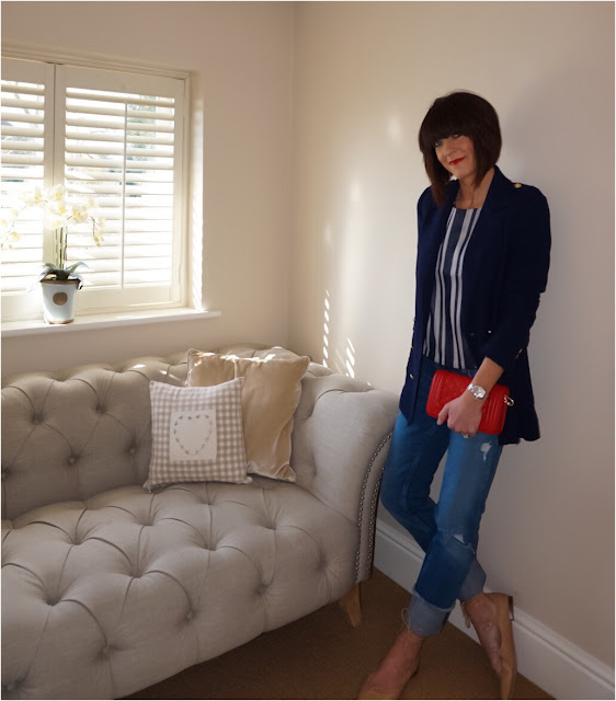 My Midlife Fashion, Zara long length blazer, finery bonmore stripe jacquard tee, leather quilted handbag, zara straight leg distressed jeans, ghillie lace up shoes