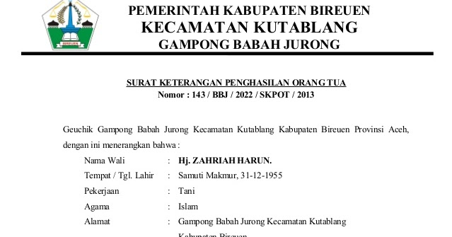Surat Pernyataan Penghasilan Orang Tua Wiraswasta - Bagi ...